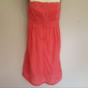 Anthro: Maeve strapless button dress size 8